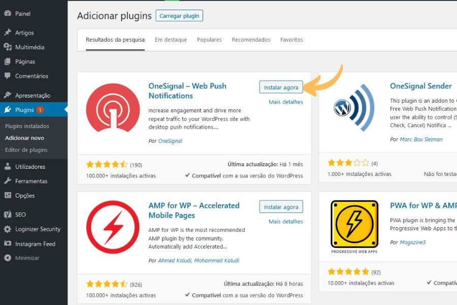 OneSignal WordPress plugin